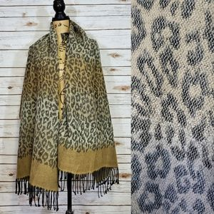 Italian Animal Print Wrap Oversized Scarf Fringe